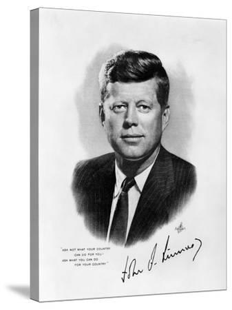 Official White House Portrait John Fitzgerald Kennedy 35th American President--Stretched Canvas Print