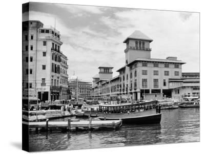 1930s-1940s Passenger Ferry at Waterfront Dock Havana Cuba--Stretched Canvas Print