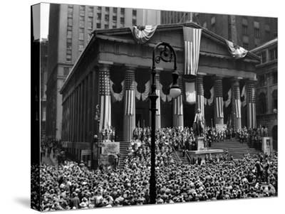1942 WWII War Bond Rally Federal Treasury Building New York Stock Exchange Wall Street Manhattan--Stretched Canvas Print