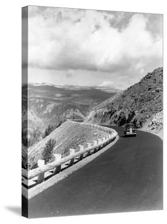 1940s Automobile on Hillside Road Near Yellowstone National Park 11000 Feet Elevation Red Lodge--Stretched Canvas Print