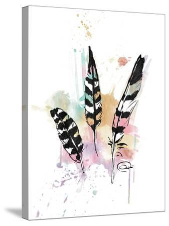 Calm Three Feathers-OnRei-Stretched Canvas Print
