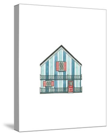 Little Striped Houses Cyan-Natasha Marie-Stretched Canvas Print