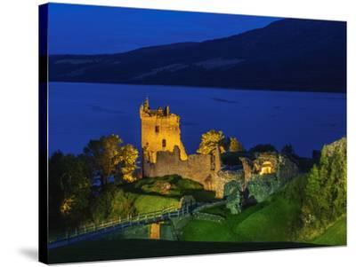 Twilight view of Urquhart Castle and Loch Ness, Highlands, Scotland, United Kingdom, Europe-Karol Kozlowski-Stretched Canvas Print