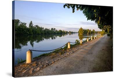 The quay along the Loire River, Chouze sur Loire, Loire Valley, UNESCO World Heritage Site, Indre e-Nathalie Cuvelier-Stretched Canvas Print