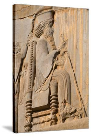 Carved relief of Darius the Great, builder of Persepolis, UNESCO World Heritage Site, Iran, Middle -James Strachan-Stretched Canvas Print
