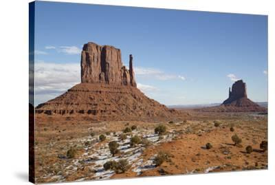 West Mitten Butte on left and East Mitten Butte on right, Monument Valley Navajo Tribal Park, Utah,-Richard Maschmeyer-Stretched Canvas Print