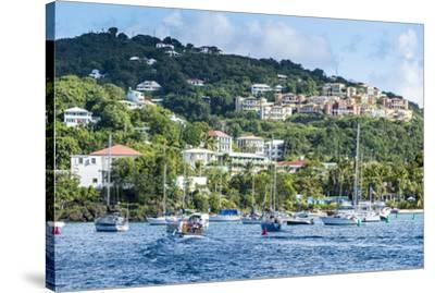 Sailing boats in Cruz Bay, St. John, Virgin Islands National Park, US Virgin Islands, West Indies,-Michael Runkel-Stretched Canvas Print