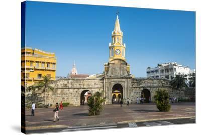 Torre del Reloj Publico (Public Clock Tower), UNESCO World Heritage Site, Cartagena, Colombia, Sout-Michael Runkel-Stretched Canvas Print