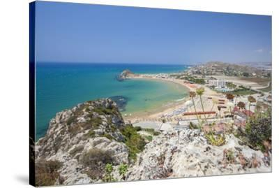 The cliffs frame the turquoise sea and the sandy beach of Licata, Province of Agrigento, Sicily, It-Roberto Moiola-Stretched Canvas Print