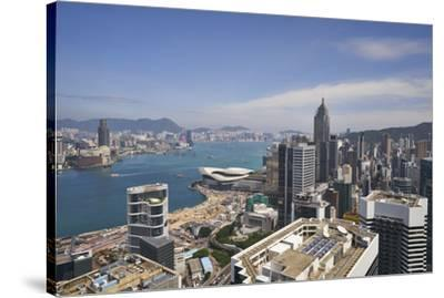 Hong Kong skyline just before sunrise looking from Hong Kong Island across Victoria Harbour to Kowl-Fraser Hall-Stretched Canvas Print