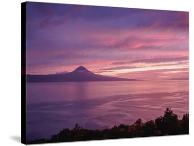 View towards the Pico Island at sunset, Sao Jorge Island, Azores, Portugal, Atlantic, Europe-Karol Kozlowski-Stretched Canvas Print