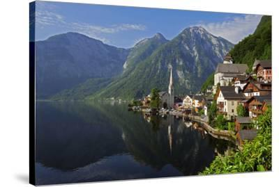 Town of Hallstatt, UNESCO World Heritage Site, on Lake Hallstatt, Salzkammergut, Upper Austria, Aus-Hans-Peter Merten-Stretched Canvas Print