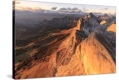 Aerial view of Roda Di Vael at sunset, Catinaccio Group (Rosengarten), Dolomites, South Tyrol, Ital-Roberto Moiola-Stretched Canvas Print
