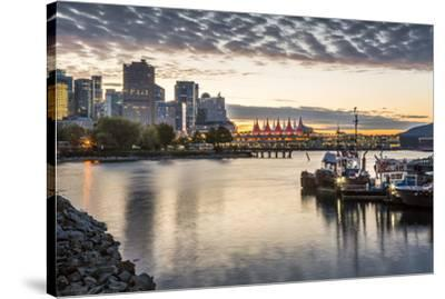 View of Canada Place and urban office buildings at sunset from CRAB Park, Vancouver, British Columb-Frank Fell-Stretched Canvas Print