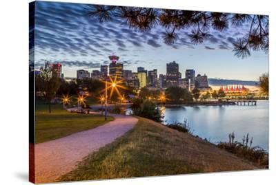 View of city skyline and Vancouver Lookout Tower from CRAB Park at Portside, Vancouver, British Col-Frank Fell-Stretched Canvas Print