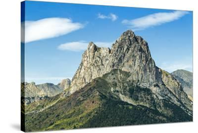 The 2341m limestone peak Pena Foratata, a great landmark in scenic upper Tena Valle, Sallent de Gal-Robert Francis-Stretched Canvas Print