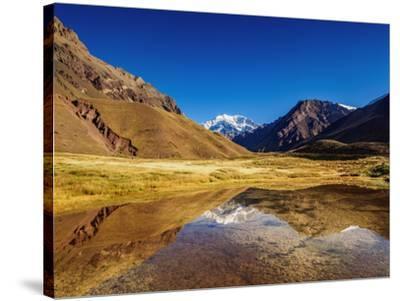 Aconcagua Mountain reflecting in the Espejo Lagoon, Aconcagua Provincial Park, Central Andes, Mendo-Karol Kozlowski-Stretched Canvas Print