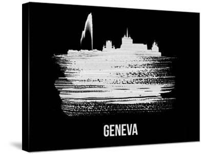 Geneva Skyline Brush Stroke - White-NaxArt-Stretched Canvas Print