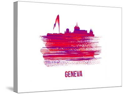 Geneva Skyline Brush Stroke - Red-NaxArt-Stretched Canvas Print