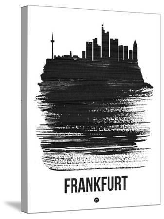 Frankfurt Skyline Brush Stroke - Black-NaxArt-Stretched Canvas Print