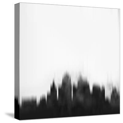 Kansas City Skyline - Black-NaxArt-Stretched Canvas Print