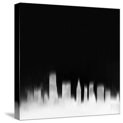 Miami City Skyline - White-NaxArt-Stretched Canvas Print