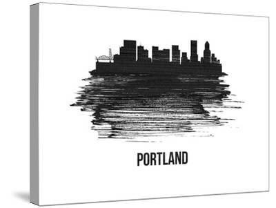 Portland Skyline Brush Stroke - Black II-NaxArt-Stretched Canvas Print