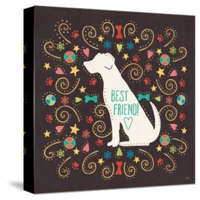 Otomi Dogs III Dark-Veronique Charron-Stretched Canvas Print