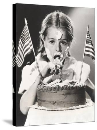 Girl with July 4th Cake All over Her Face--Stretched Canvas Print