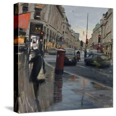 Regent Street in Rain with Taxi, 2018-Tom Hughes-Stretched Canvas Print