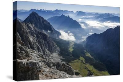 View About Puittal on Karwendel in the Early Morning Haze-Rolf Roeckl-Stretched Canvas Print