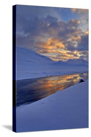 Iceland, West Fjords, Winter Scenery in the Dyrafjördur Close Pingeyri-Bernd Rommelt-Stretched Canvas Print