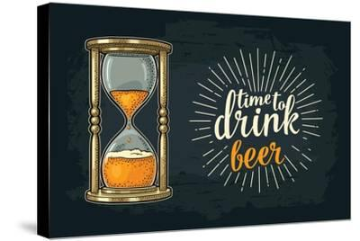 Retro Hourglass. Time to Drink Beer Lettering. Vector Color Vintage Illustration Outline. Isolated-MoreVector-Stretched Canvas Print