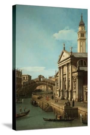 Capriccio: The Rialto Bridge and the Church of S. Giorgio Maggiore, c.1750-Canaletto-Stretched Canvas Print