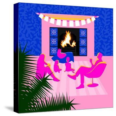 Christmas by the fireplace-Claire Huntley-Stretched Canvas Print