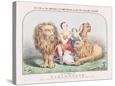 The Lion and the Lamb Shall Lie Down Together and The Little Child Shall Lead Them, c.1840-T. W. Strong-Stretched Canvas Print