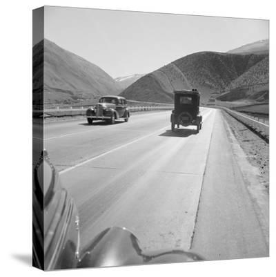 Migrants driving on Highway 99, 1939-Dorothea Lange-Stretched Canvas Print
