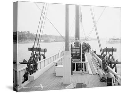 Steamer Clermont, deck, looking aft, 1909-Detroit Publishing Co.-Stretched Canvas Print