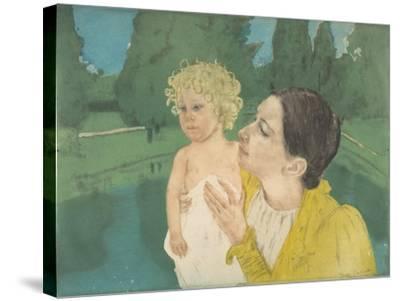 By the Pond, c.1896-Mary Stevenson Cassatt-Stretched Canvas Print