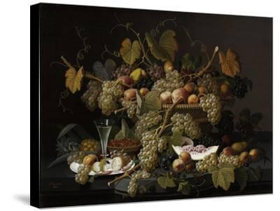 Ecstatic Fruit, 1852-Severin Roesen-Stretched Canvas Print