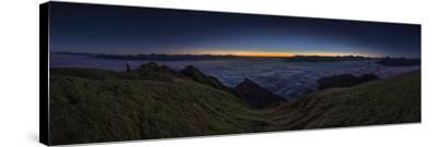 Panorama on the Nockspitze to Sunrise with Fog in the Valley-Niki Haselwanter-Stretched Canvas Print
