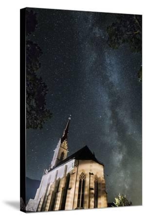 The Locherboden Church with the Milky Way in the Background-Niki Haselwanter-Stretched Canvas Print