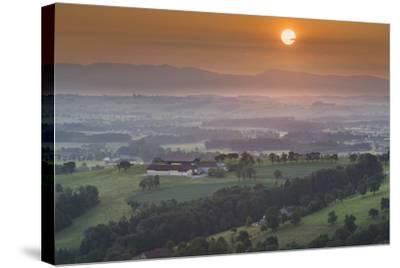 Upper Austrian Alpine Foothills Close Steyr, Farm, Austria-Rainer Mirau-Stretched Canvas Print