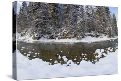 The Ammer in Winter with Ice and Snow-Wolfgang Filser-Stretched Canvas Print