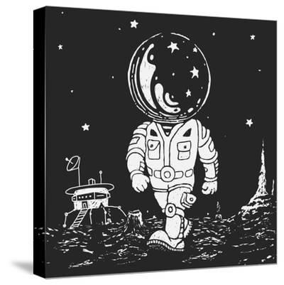 Illustration of an Astronaut Going on A Planet-JoeBakal-Stretched Canvas Print