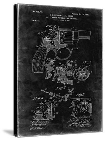 PP375-Black Grunge Smith and Wesson Hammerless Pistol 1898 Patent Poster-Cole Borders-Stretched Canvas Print