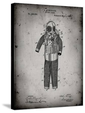 PP343-Faded Grey Hemenger Diving Armor Poster-Cole Borders-Stretched Canvas Print