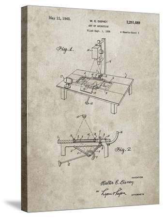 PP403-Sandstone Disney Multi Plane Camera Patent Poster-Cole Borders-Stretched Canvas Print