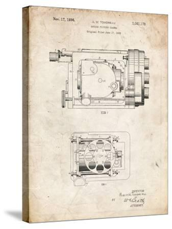 PP390-Vintage Parchment Motion Picture Camera 1932 Patent Poster-Cole Borders-Stretched Canvas Print