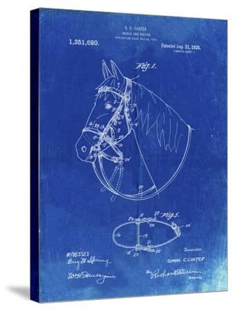 PP338-Faded Blueprint Bridle and Halter Patent Poster-Cole Borders-Stretched Canvas Print
